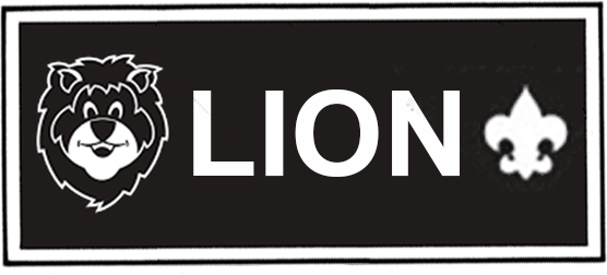 lion badge black and white